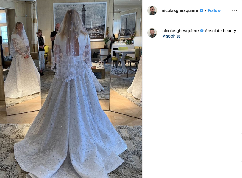 sophie turner wedding dress by louis vuitton, long sleeve embellished wedding dress