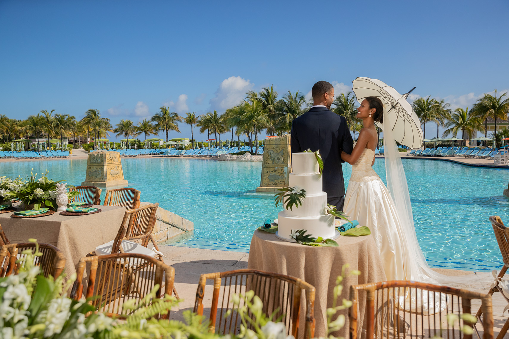 wedding reception with tropical decor at Atlantis Paradise Island destination wedding ideas in the bahamas