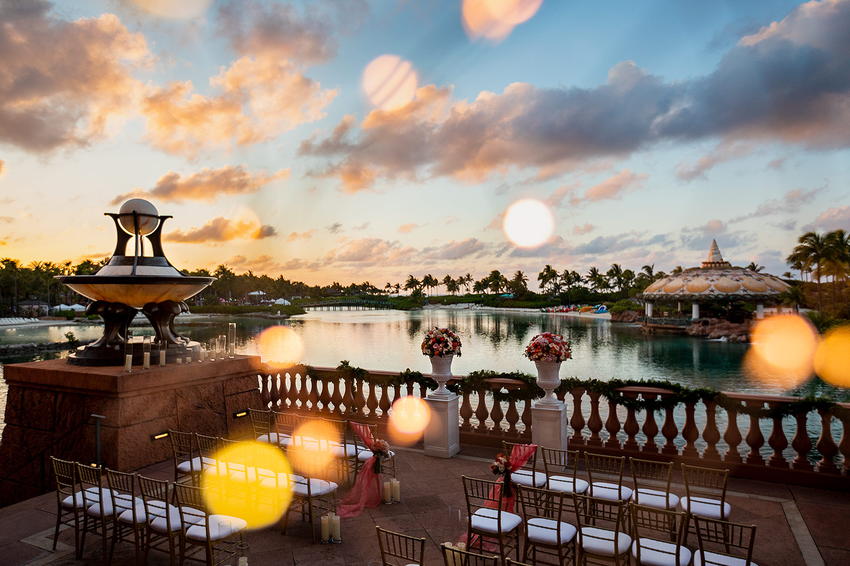 sunset wedding reception at Atlantis Paradise Island destination wedding ideas in the bahamas