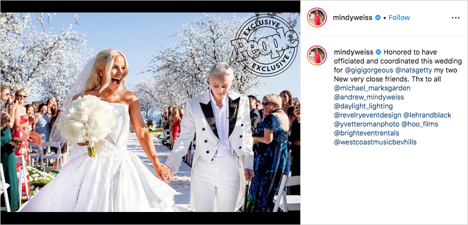 gigi gorgeous and nats getty wedding mindy weiss planner and officiant