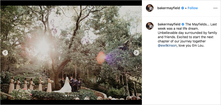 baker mayfield and emily wilkinson wedding at calamigos ranch