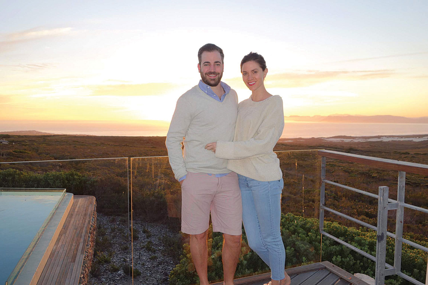 elizabeth o'keefe and jonathan cotton sunset at grootbos private nature reserve