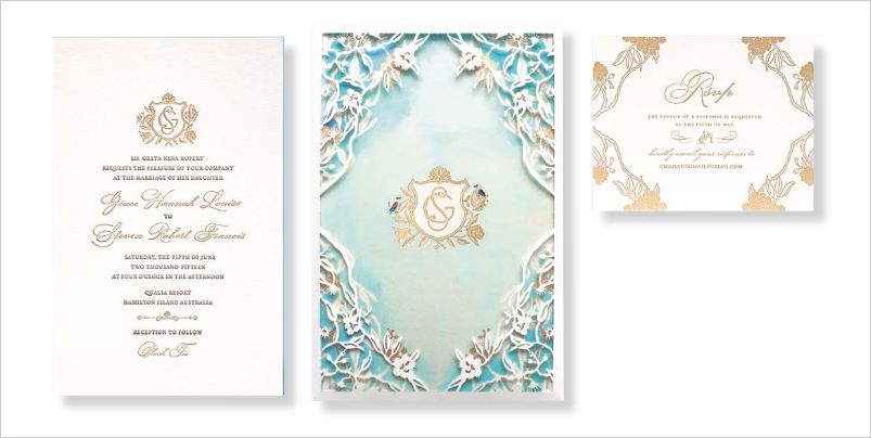 destination wedding invitation watercolor design inspired by Australian beach wedding letterpress foil stamping laser cut