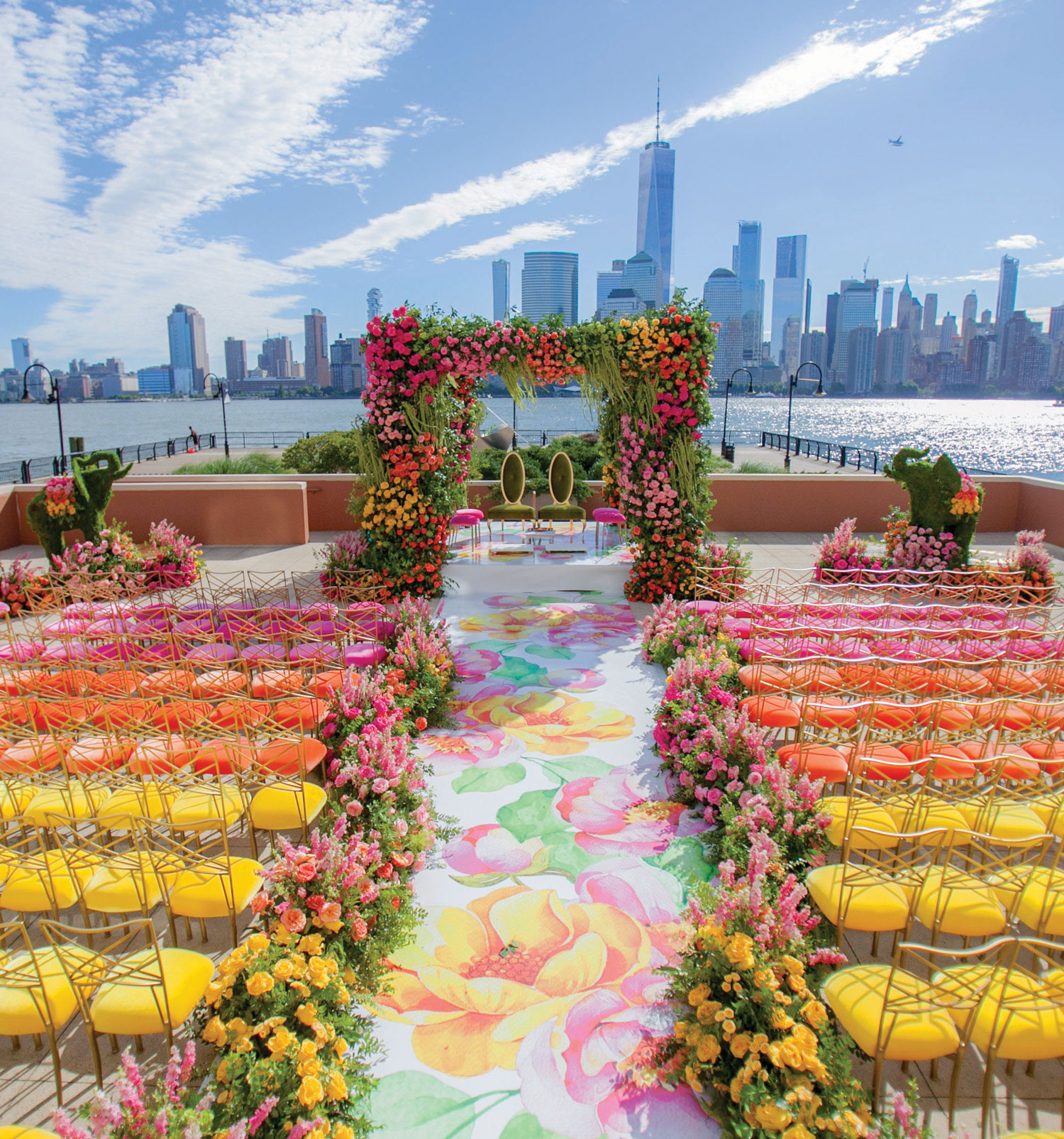 wedding ceremony rainbow chair design flower print aisle runner chameleon chair collection