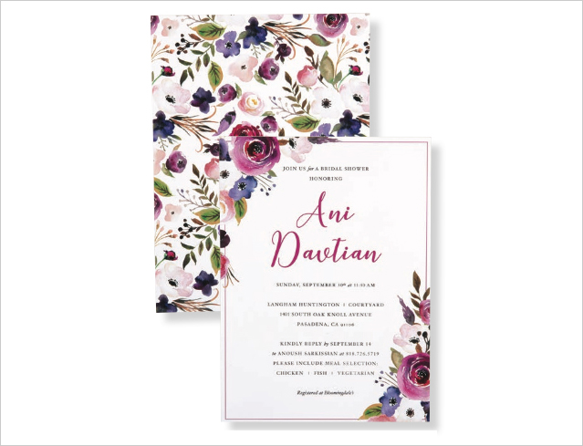 watercolor bridal shower wedding invitation with flower print purple by cordially
