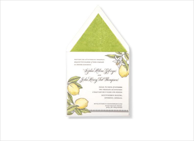 watercolor wedding invitations lemon blossom letterpress citrus hand painted elizabeth grace