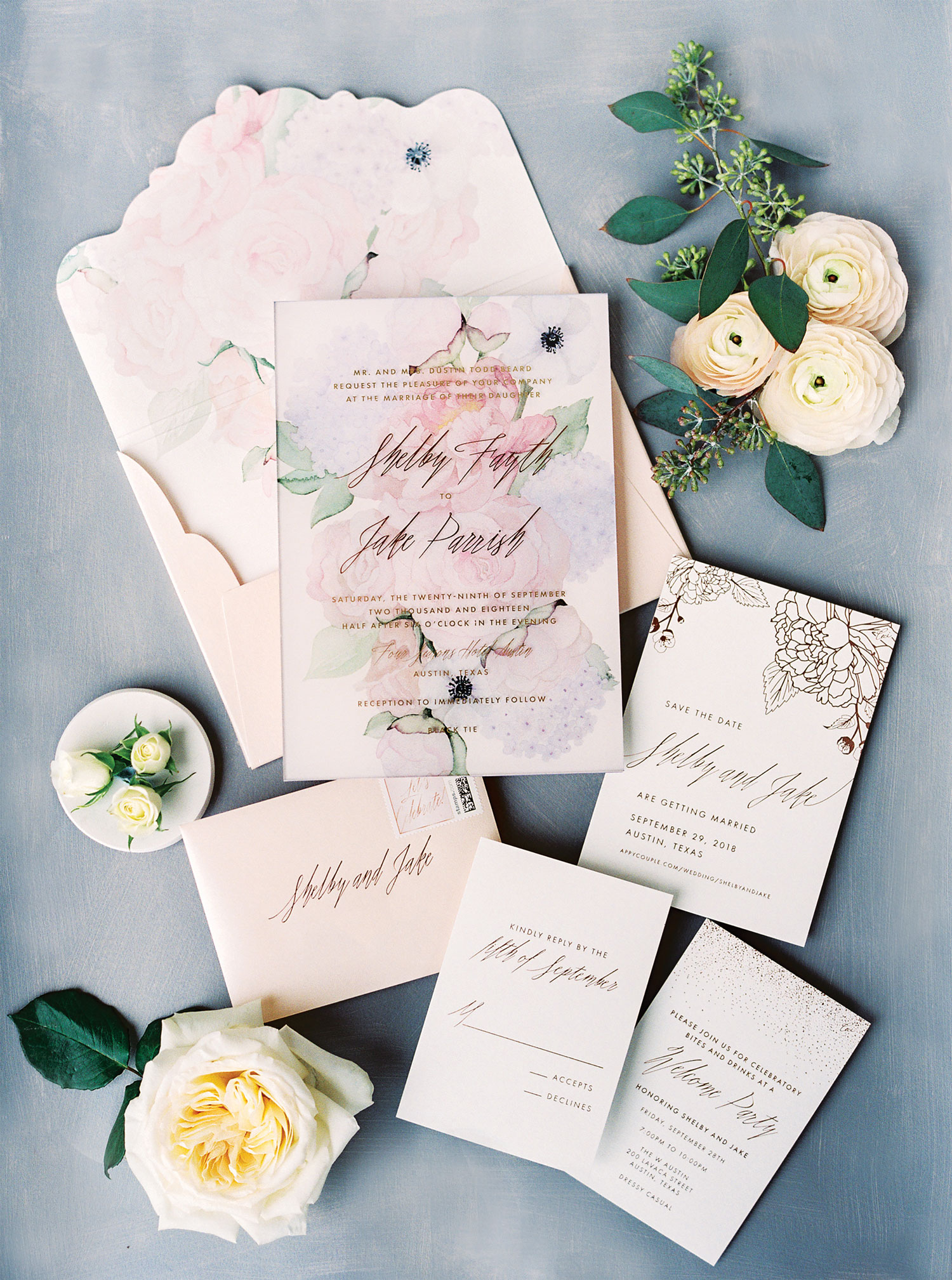 watercolor wedding invitation with flower print pattern by ceci new york
