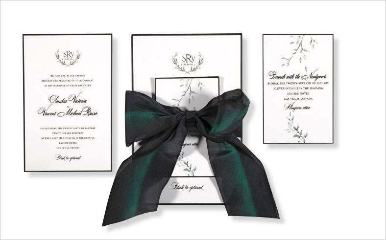 watercolor wedding invitation suite emerald green satin bow lehr and black