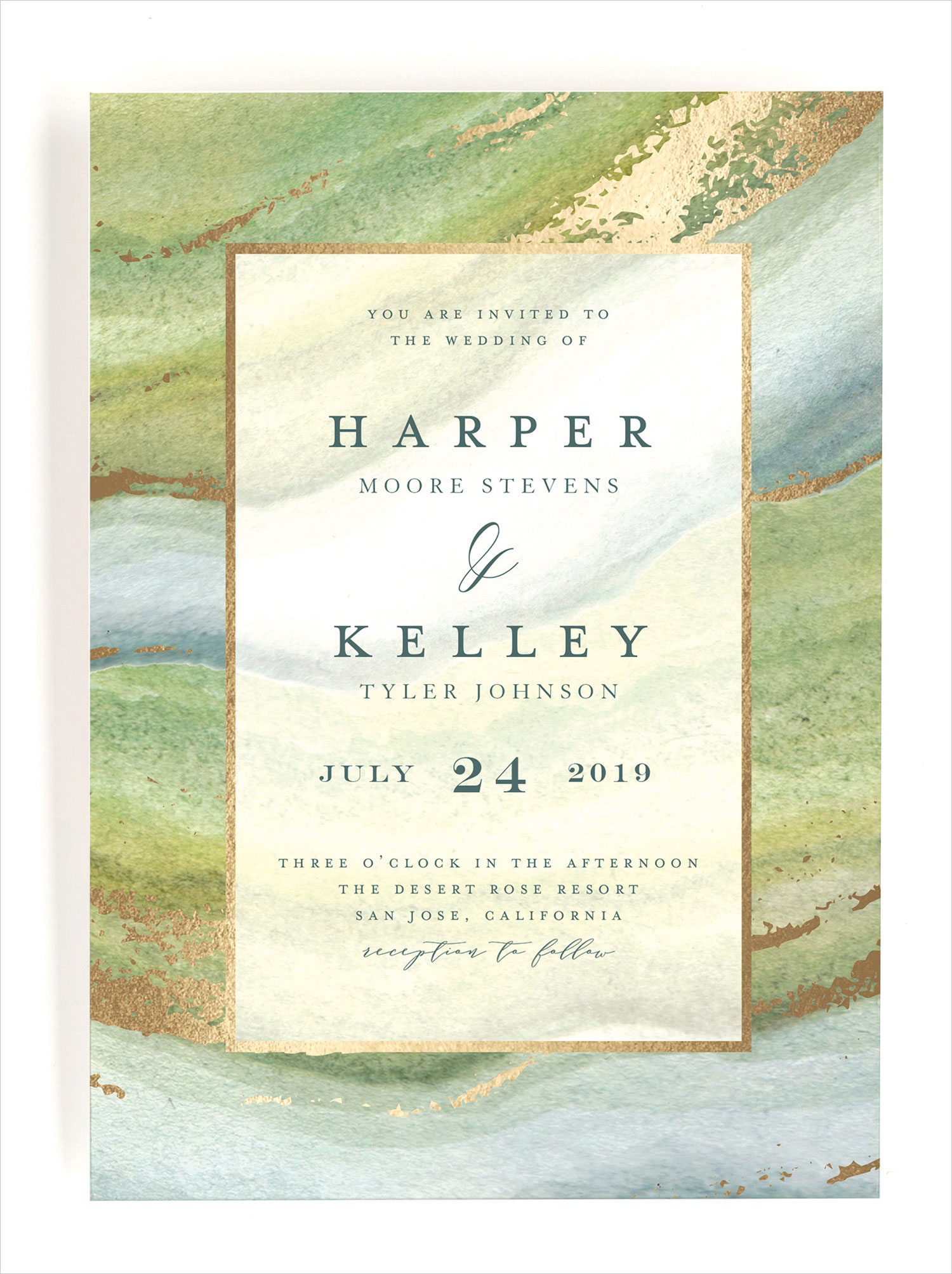 Minted wedding invitation coastal lines by grace kreinbrink watercolor design