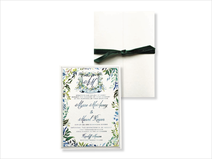 watercolor garden wedding invitation with custom crest and hand painted elements momental designs