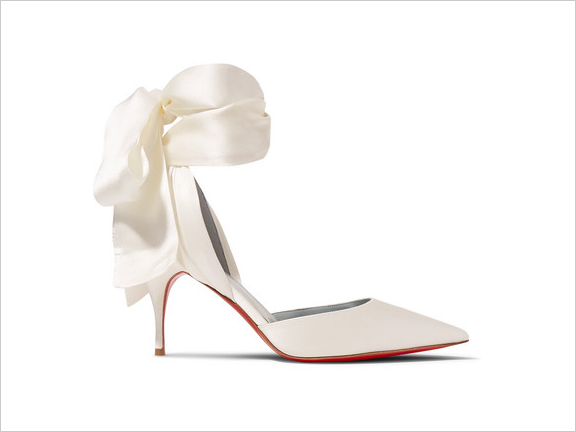 christian louboutin white toubinana satin pumps with ribbon ankle straps bridal wedding shoe ideas