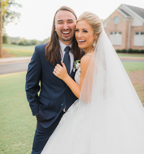 rachel wammack in custom justin alexander wedding dress with husband noah purcell