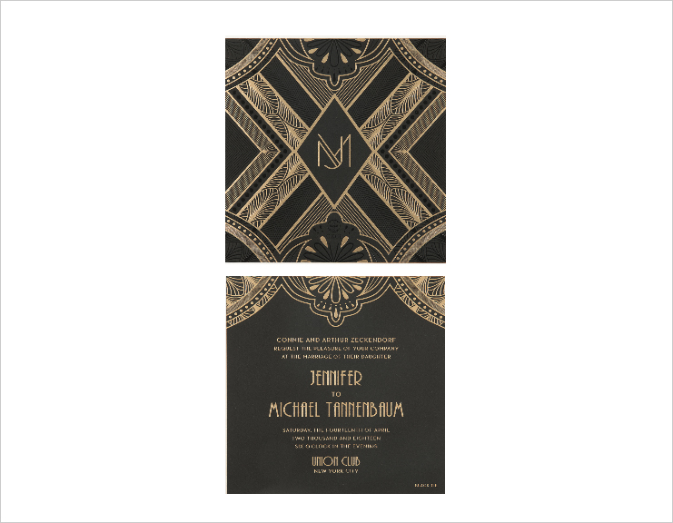 monogram wedding invitation art deco inspired black and gold invite ceci new york