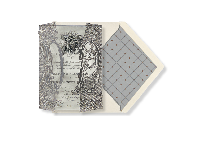 monogram wedding invitation engraved invite laser cut wrap by elizabeth grace