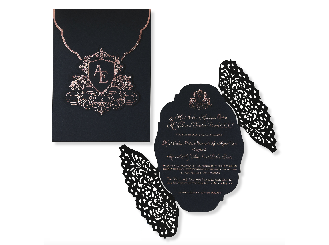 monogram wedding invitation black with rose gold foil laser cut the amber by oda creative