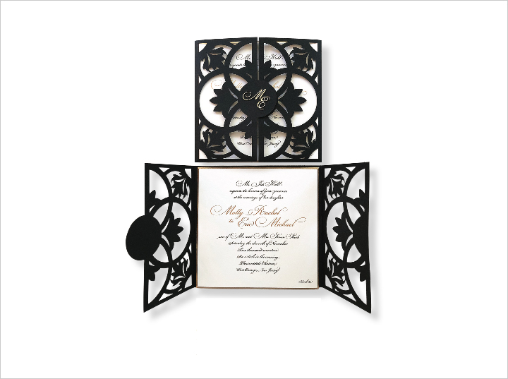 monogram wedding invitation wrapped in love black laser cut invite by redbliss design