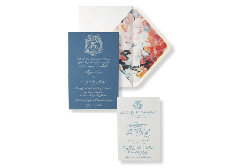 monogram wedding invitation design with abstract art envelope liner lowcountry paper co
