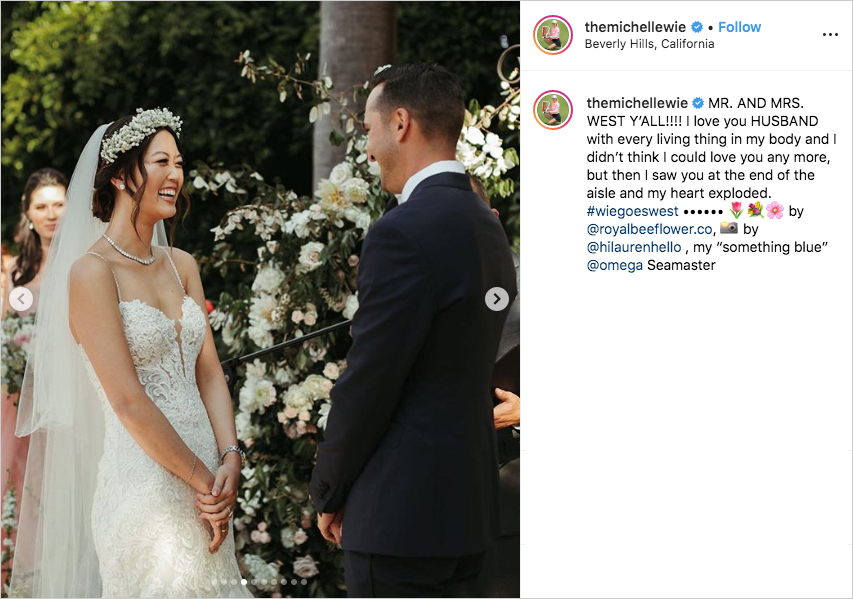 michelle wie and johnnie west laughing and smiling during their wedding ceremony