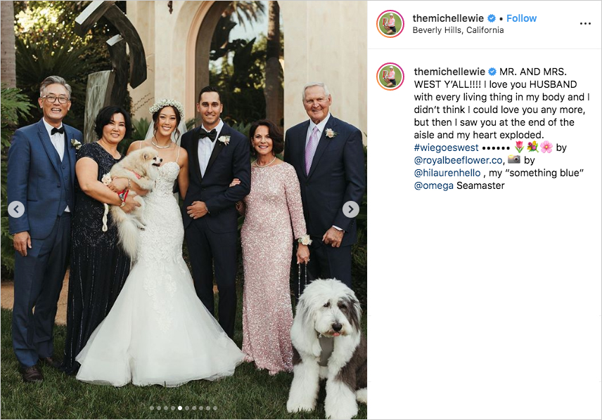 michelle wie in wedding dress with her parents, husband johnnie west with his parents jerry west, michelle wie and johnnie west dogs