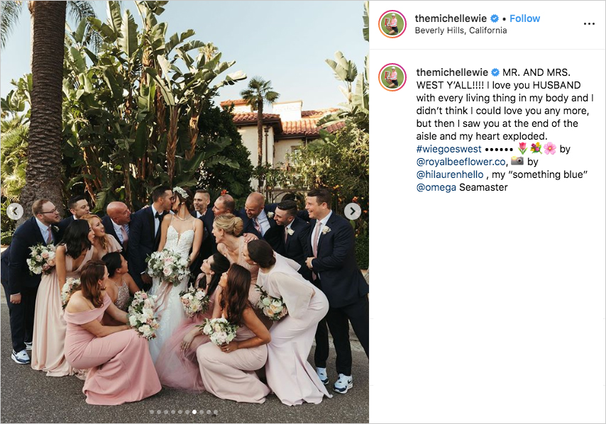 michelle wie and johnnie west wedding photo with bridesmaids and groomsmen