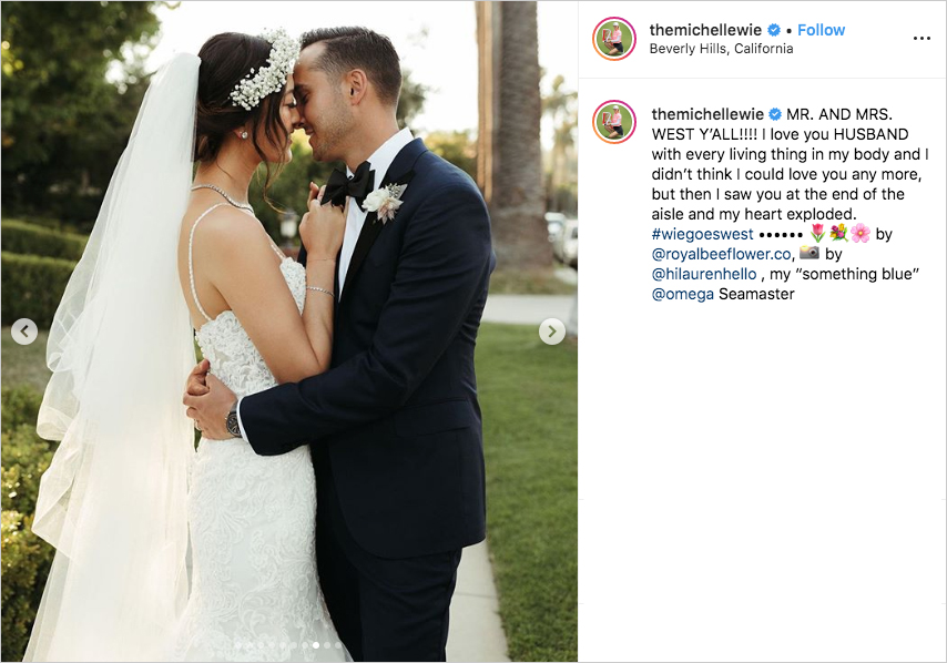 michelle wie and johnnie west face to face on their wedding day
