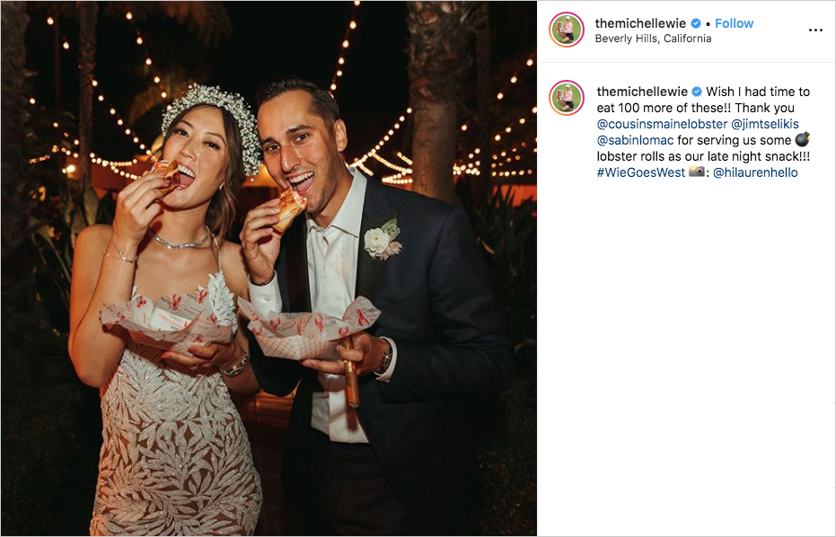 michelle wie and johnnie west eating lobster rolls for wedding late-night snack