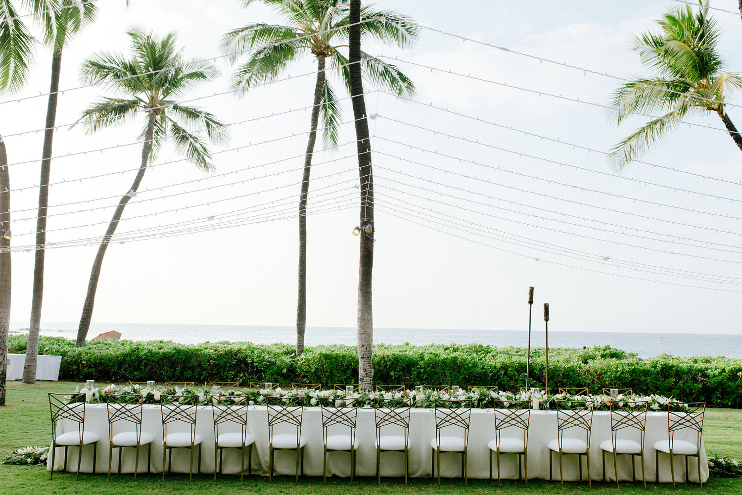 tented reception set up for destination wedding in hawaii