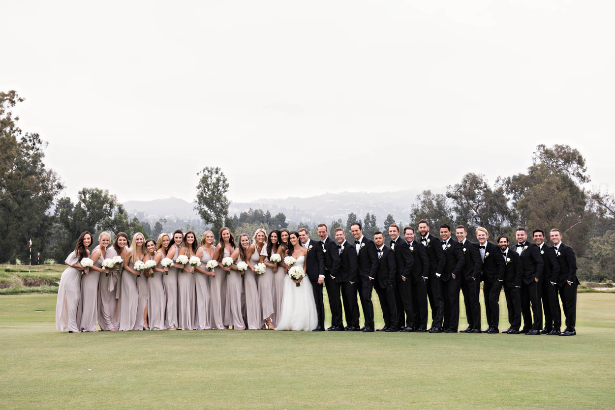large bridal party with bridesmaids in champagne dresses on one side, groomsmen in tuxedos on the other side