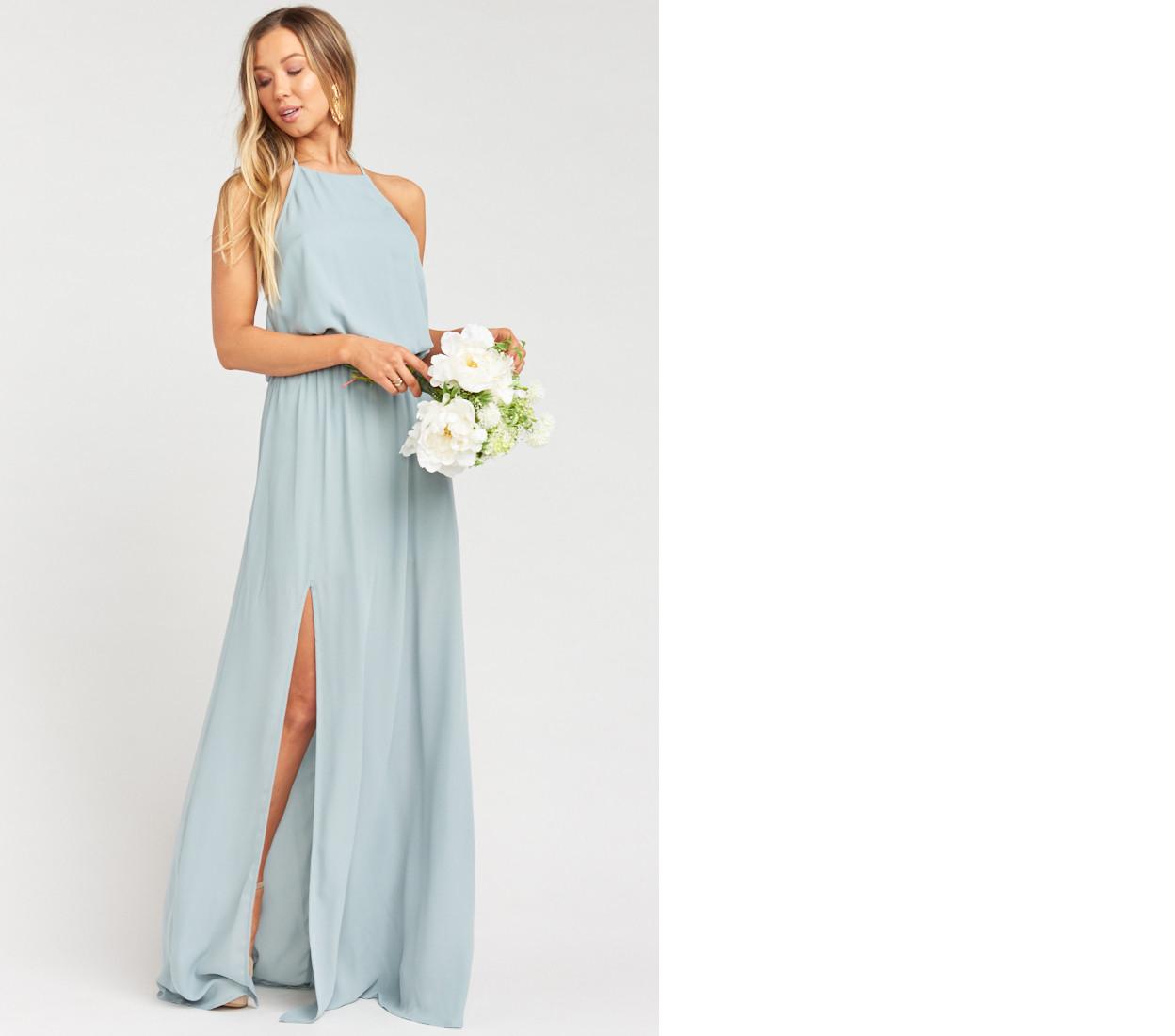 bridesmaid dress ideas heather halter gown silver sage crisp show me your mumu wedding ideas