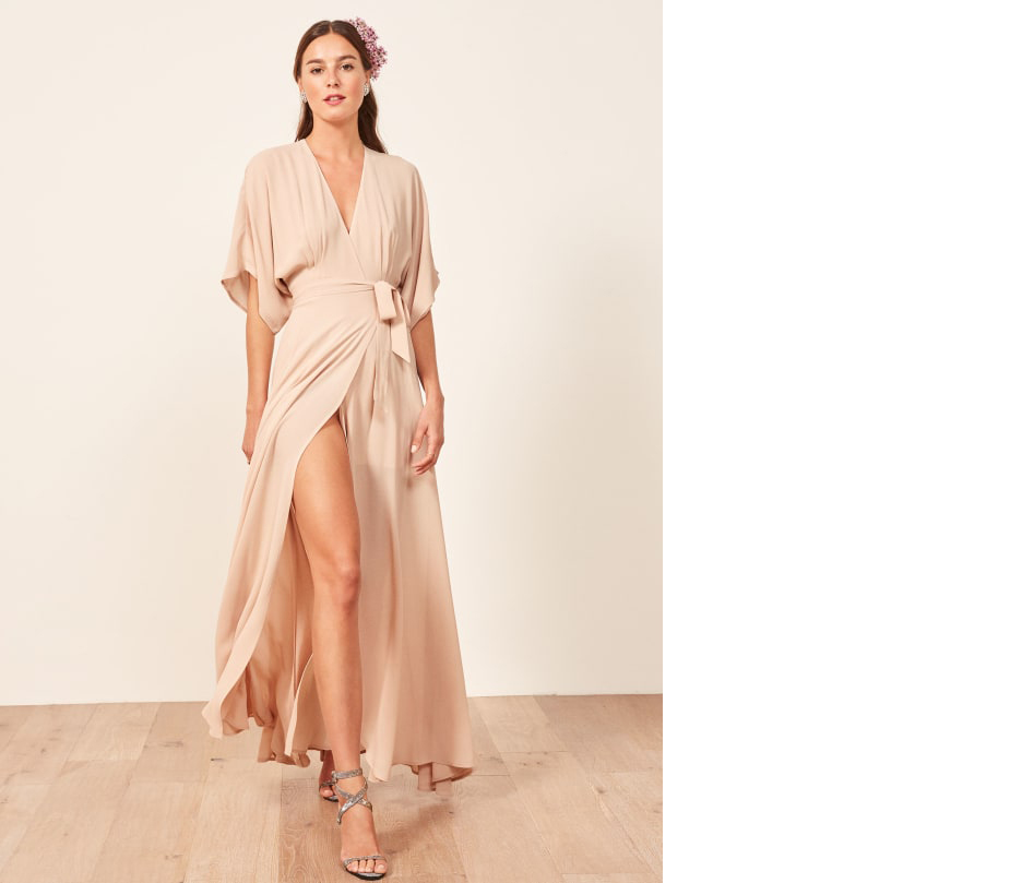 bridesmaid dress ideas winslow dress in champagne reformation slit and v neck