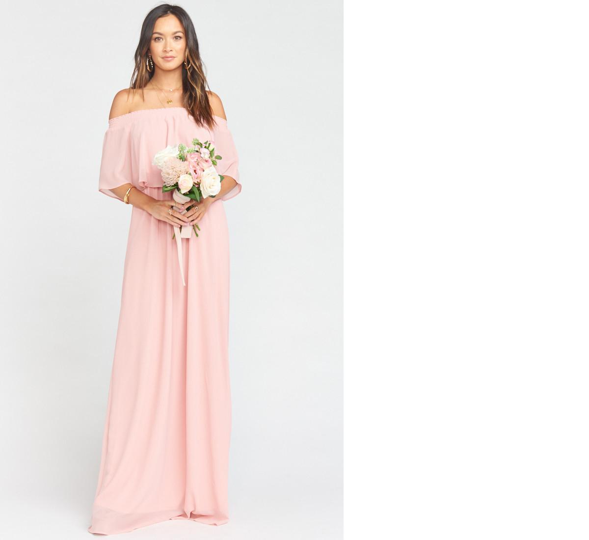 bridesmaid dress ideas hacienda blush off shoulder maxi dress show me your mumu