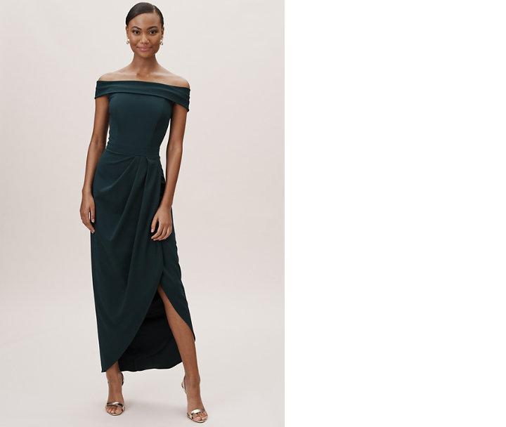 bridesmaid dress idea midi dress thompson in holly green bhldn off shoulder