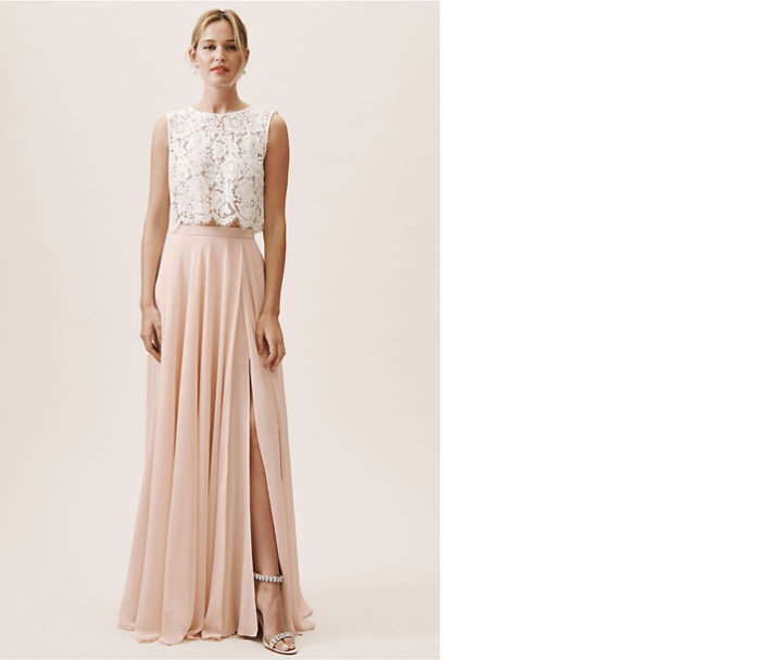 two piece bridesmaid dress idea cleo top jenny yoo and chateau skirt bhldn
