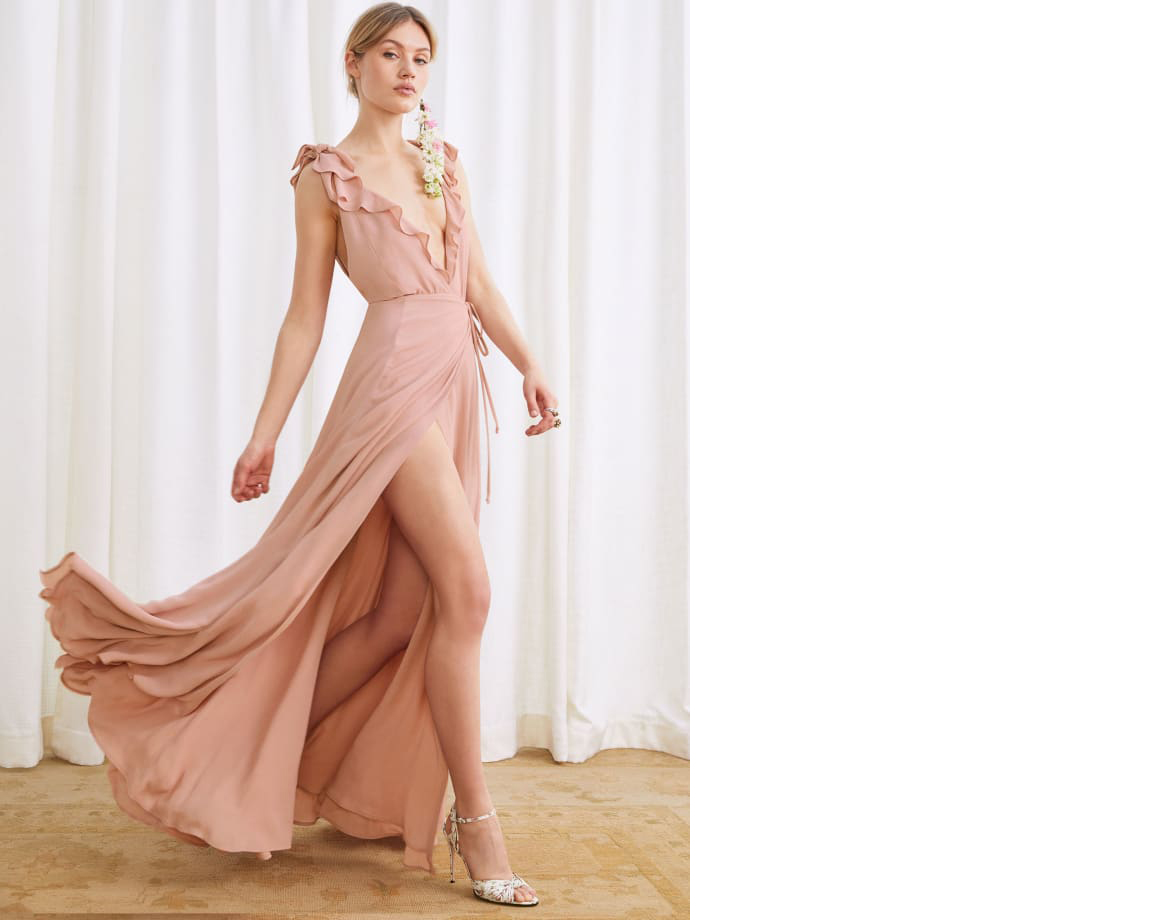 bridesmaid dress ideas peppermint dress in blush ruffles reformation