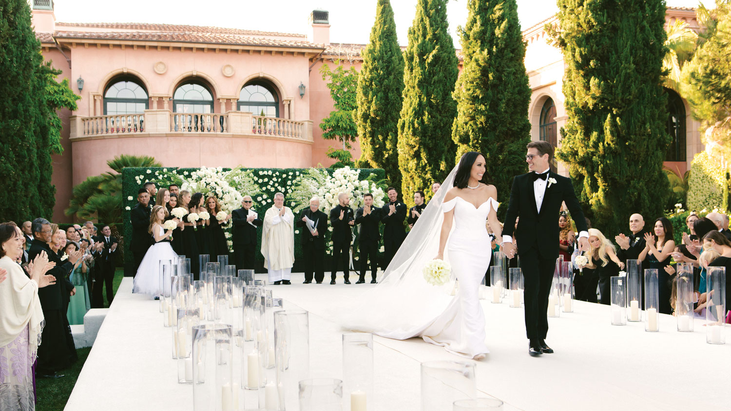 luxury real wedding celebrity cheryl burke matthew lawrence outdoor ceremony mindy weiss
