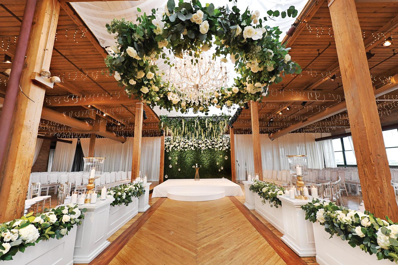 rustic chic indoor wedding ceremony real wedding carasco photography hmr designs