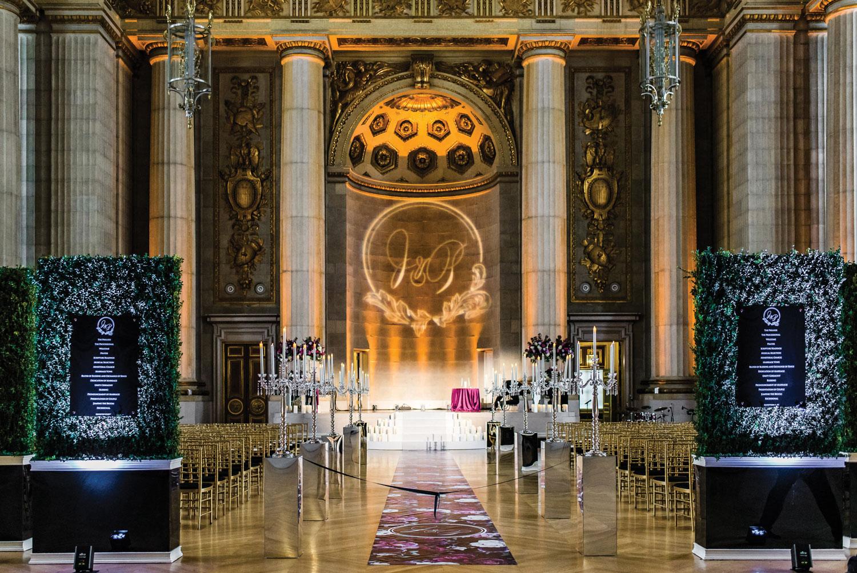 luxury wedding ceremony custom flower print aisle runner pretty venue