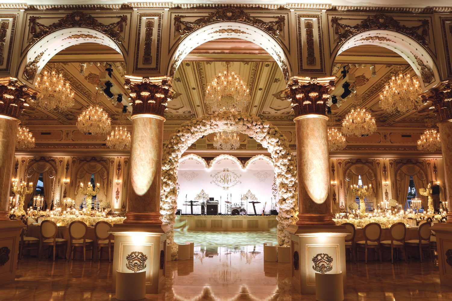 luxury real wedding reception monogram sign over band stage palm beach florida posh parties