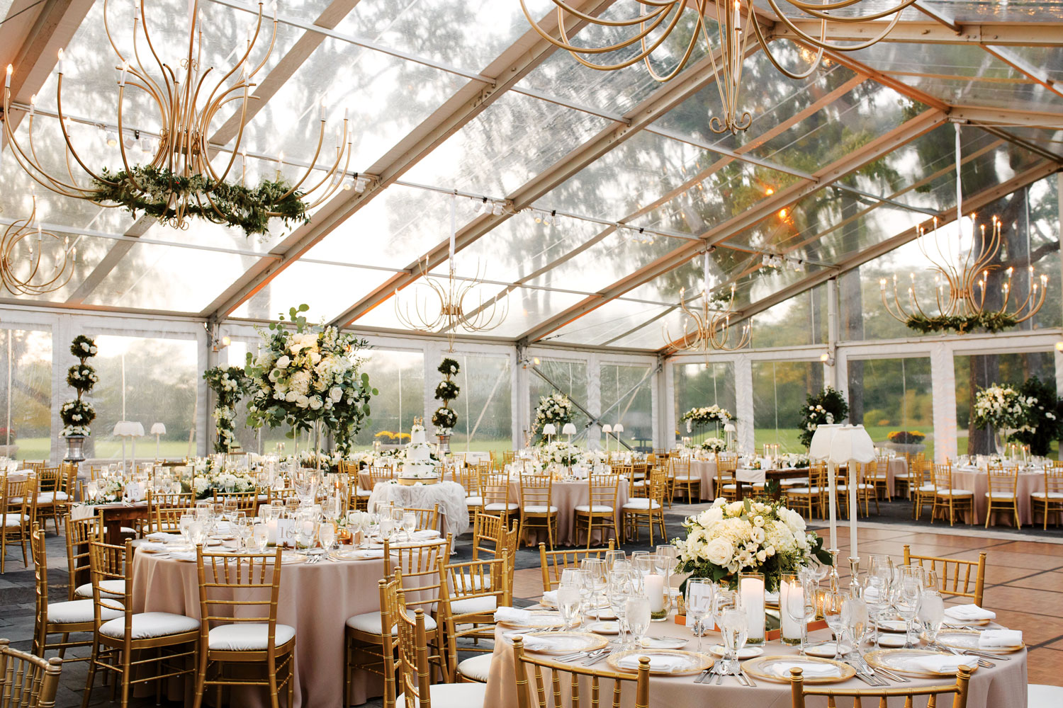 luxury real wedding gold white greenery decor clear tent reception