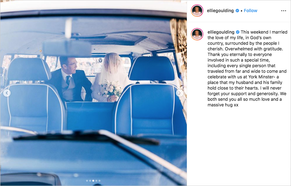 ellie goulding in back of vw bus with her dad while wearing blusher veil