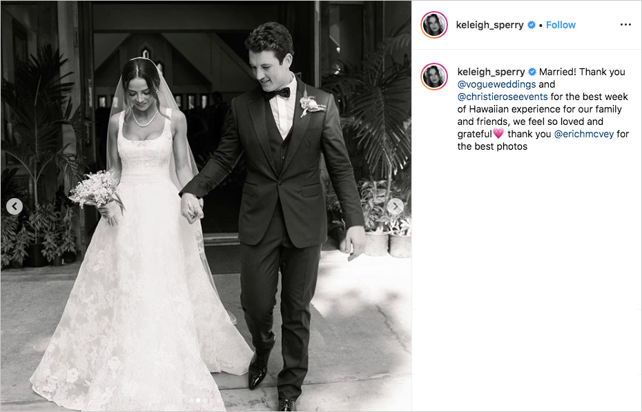 black and white photo of miles teller and keleigh sperry leaving wedding ceremony at church