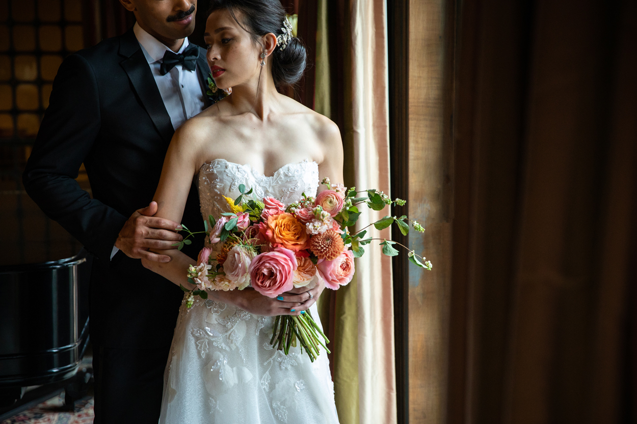 bride and groom from styled shoot moody portrait wedding regrets
