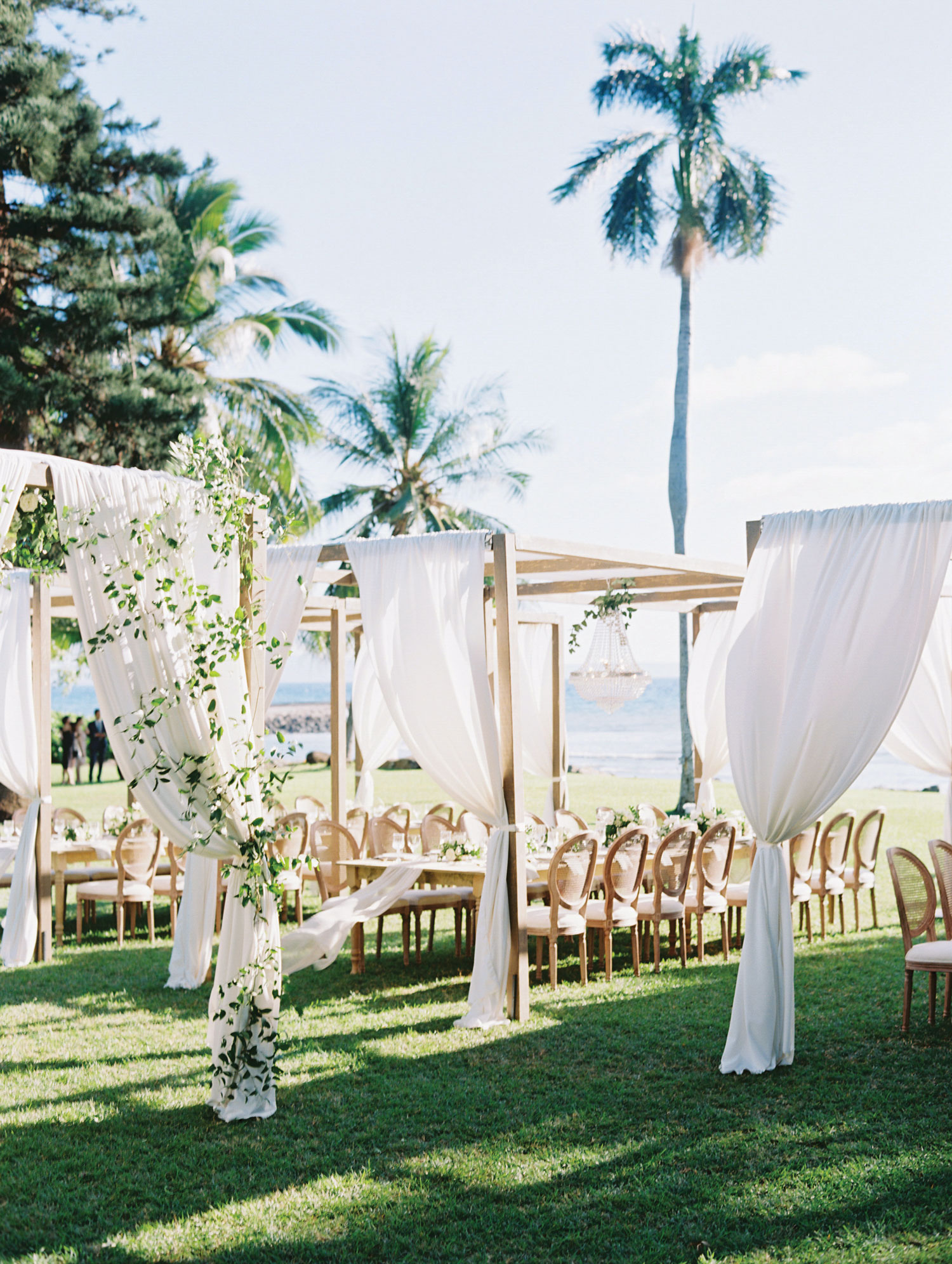 beautiful outdoor wedding with pergola in hawaii destination wedding tips advice