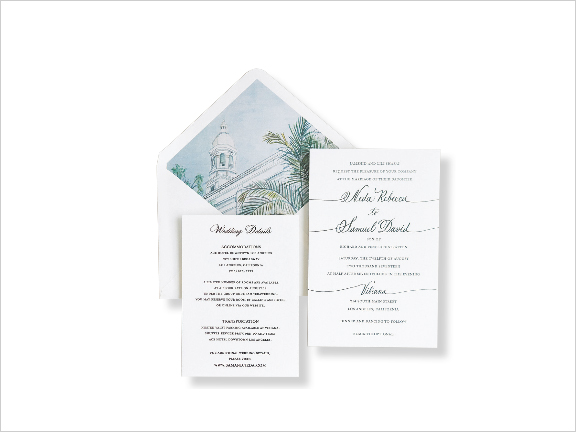 modern wedding invitation design inspired by venue watercolor design