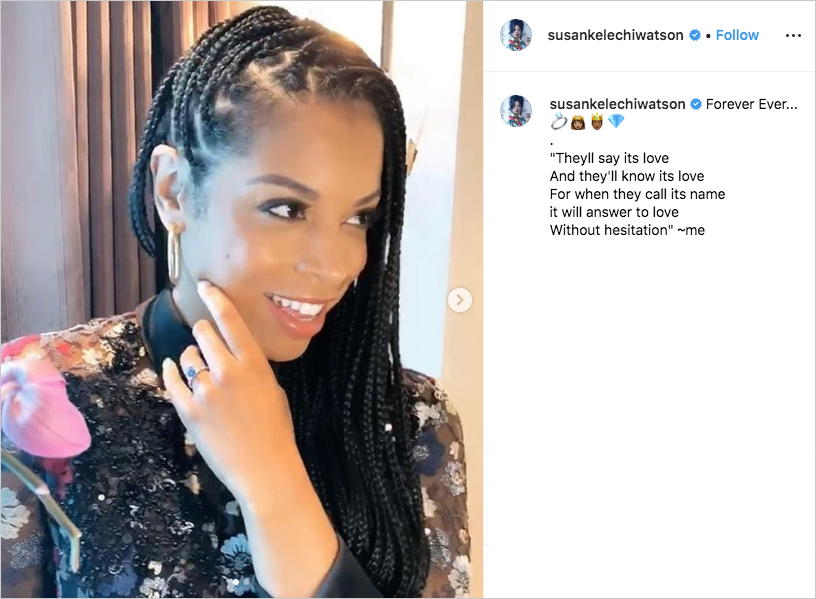 this is us actress susan kelechi watson with her sapphire engagement ring