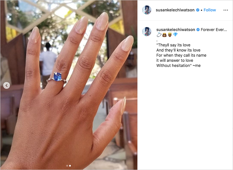 susan kelechi watson's blue sapphire engagement ring with nude nails at wayfarers chapel