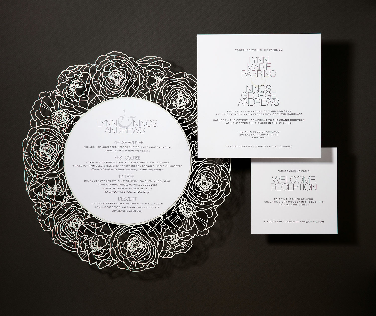 modern black and white wedding invitation luxury wedding invite elizabeth grace