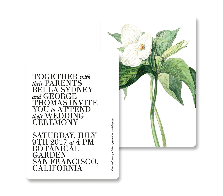 botanical bliss modern wedding invitation with classic botanical print