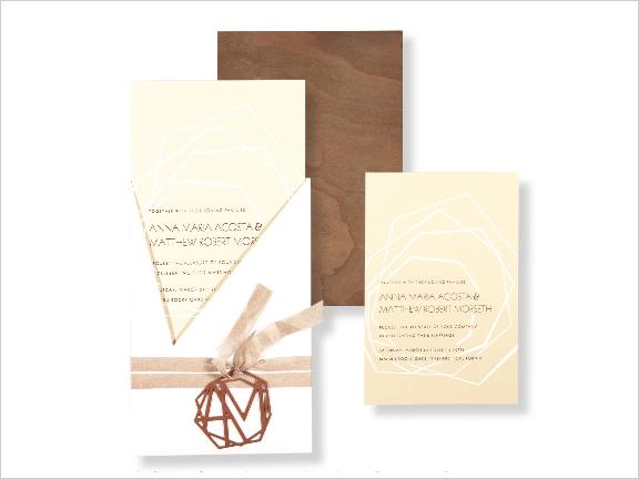 modern wedding invitation with walnut wood veneer envelope