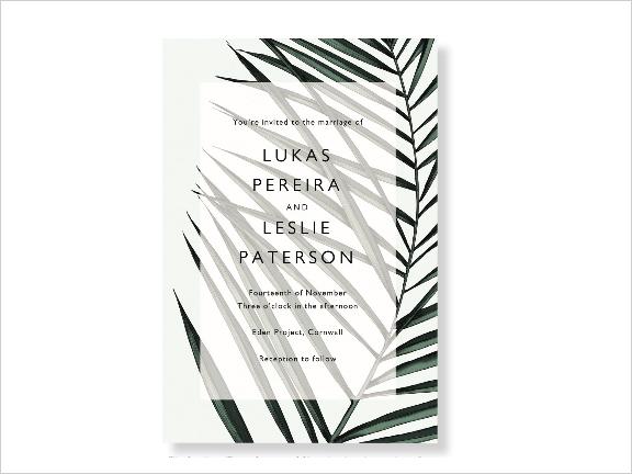 palm leaf modern wedding invitation by papier